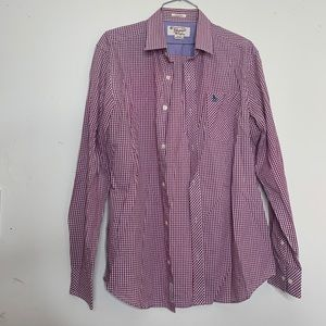 Penguin Gingham Button Up Casual Shirt Size Medium